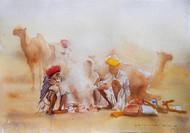 Pushkar by Sreenivasa Ram Makineedi, Impressionism Painting, Watercolor on Paper, Beige color