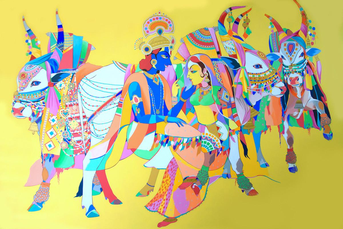 Radha Krishna with sacred bulls by artist Mohammed Osman ...
