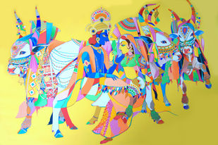 Radha Krishna with sacred bulls Digital Print by Mohammed Osman,Traditional