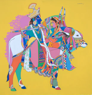 Radhs krishna with sacred bull Digital Print by Mohammed Osman,Traditional