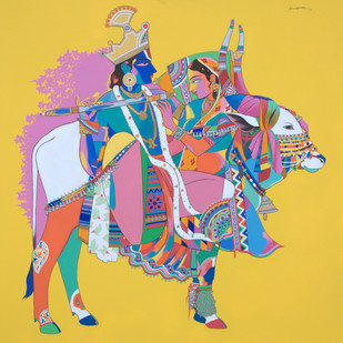 Radhs krishna with sacred bull by Mohammed Osman, Traditional Painting, Acrylic on Canvas, Orange color