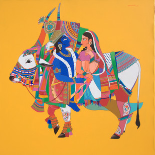 Radha krishna wuth sacred bull by Mohammed Osman, Traditional Painting, Acrylic on Canvas, Orange color