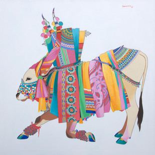 Gangireddu by Mohammed Osman, Traditional Painting, Acrylic on Canvas, Pink color