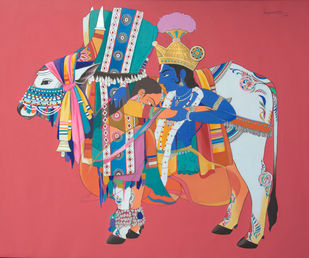 Radha krishna with sacred bull Digital Print by Mohammed Osman,Traditional