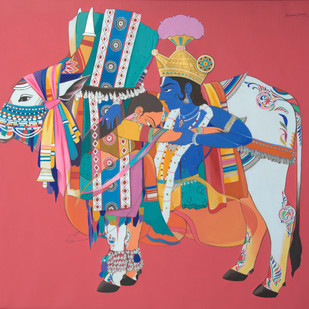 Radha krishna with sacred bull by Mohammed Osman, Traditional Painting, Acrylic on Canvas, Pink color