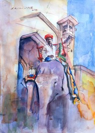 Amber fort by Sreenivasa Ram Makineedi, Impressionism Painting, Watercolor on Paper, Pink color
