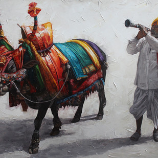 Gangireddu 06 by Iruvan Karunakaran, Realism Painting, Acrylic on Canvas, Gray color