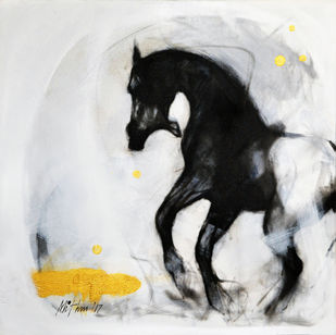 Force I by Mithun Dutta, Impressionism Painting, Mixed Media on Canvas, Gray color