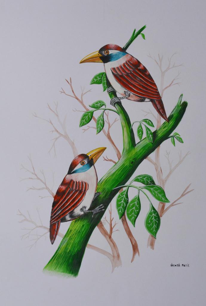 Birds Painting 6 By Artist Santosh Patil Impressionism