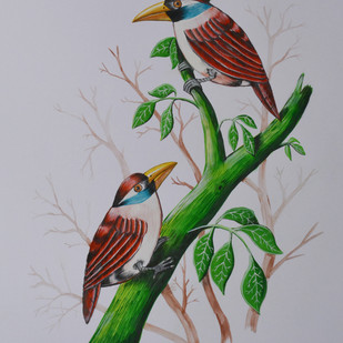 Birds painting (6) by santosh patil, Impressionism Painting, Watercolor on Paper, Gray color