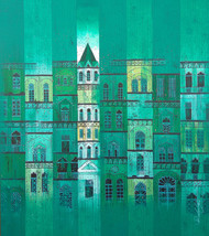 GREEN CITY- 824 by Suresh Gulage, Geometrical Painting, Acrylic on Canvas, Cyan color