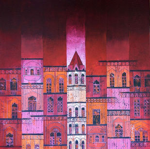 RED CITY-822 by Suresh Gulage, Geometrical Painting, Acrylic on Canvas, Purple color