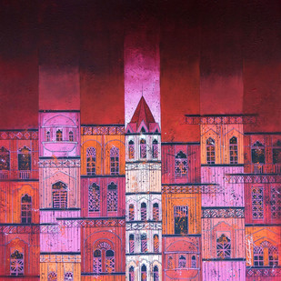 RED CITY-822 Digital Print by Suresh Gulage,Geometrical