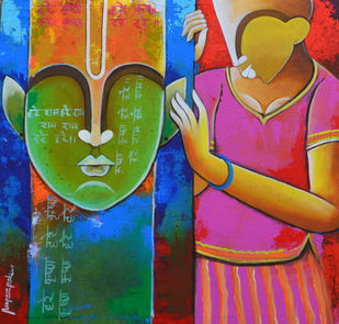 feelings by anupam pal, Decorative Painting, Acrylic on Canvas, Brown color
