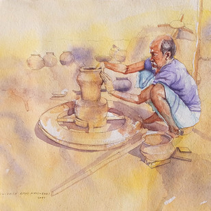 Potter Man by Sreenivasa Ram Makineedi, Impressionism Painting, Watercolor on Paper, Beige color