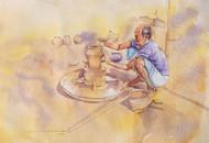 Potter Man by Sreenivasa Ram Makineedi, Impressionism Painting, Watercolor on Paper, Beige color