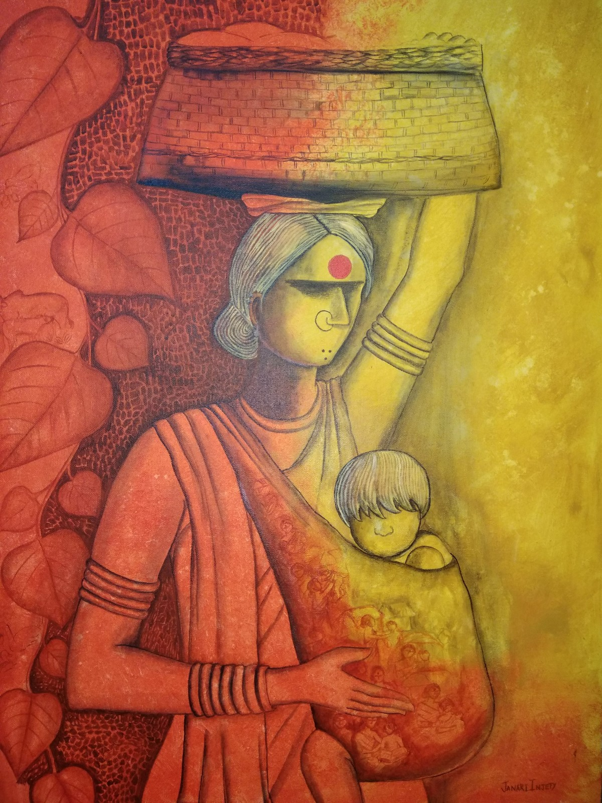 The Mother by Janaki Injety, Expressionism Painting, Acrylic on Canvas, Brown color