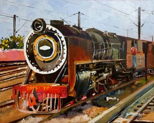 Der Zug/The Train by Shirupa Gupta, Impressionism Painting, Acrylic on Canvas, Brown color