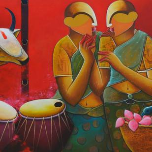 conversation 10 Digital Print by anupam pal,Expressionism