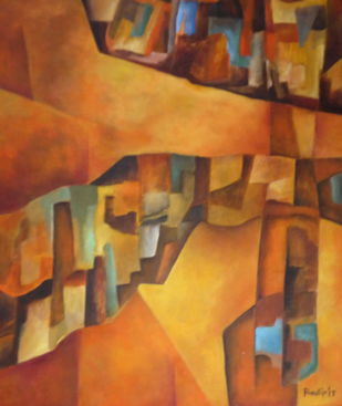 Untitled by Pradip Chaudhuri, Geometrical Painting, Acrylic on Canvas, Brown color