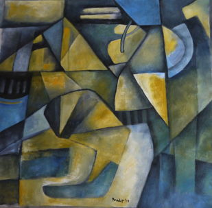 Untitled by Pradip Chaudhuri, Geometrical Painting, Acrylic on Canvas, Green color