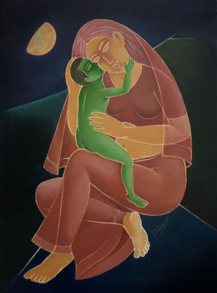 Moon-2 by D K Biswas, Expressionism Painting, Oil on Canvas,