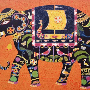 Royal Elephant 2 by Bhaskar Lahiri, Traditional Painting, Acrylic on Canvas, Brown color