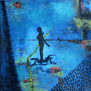 animism 7 by riddhima sharraf, Expressionism Painting, Acrylic on Canvas, Blue color