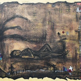 animism 4 by riddhima sharraf, Impressionism Painting, Acrylic on Canvas, Brown color