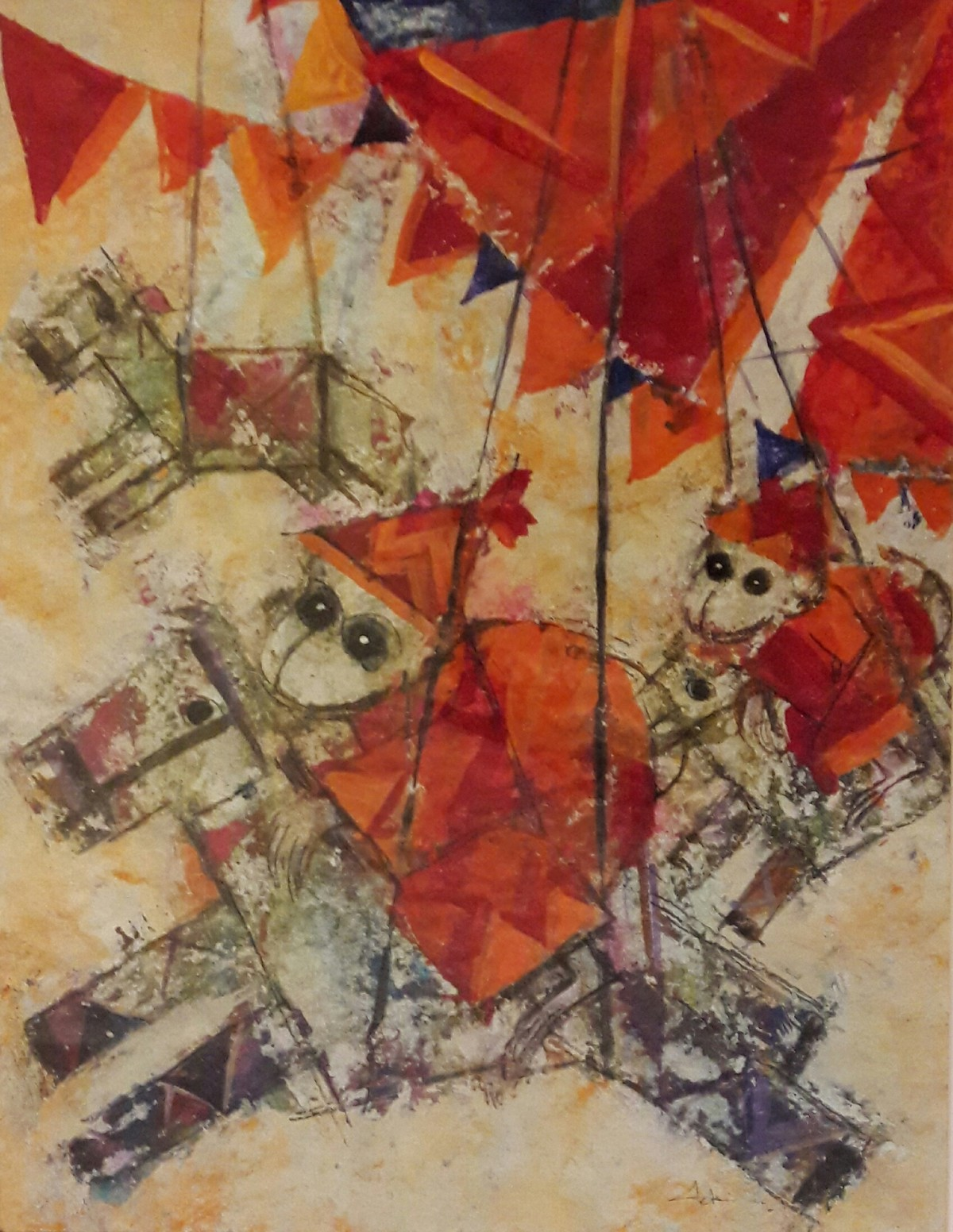 circus by Archana Sharma, Abstract Painting, Acrylic & Ink on Canvas, Brown color