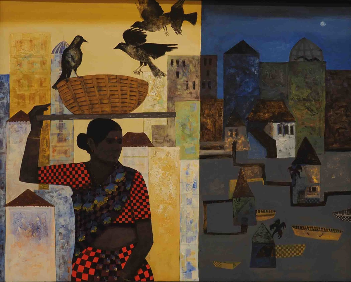 Routine by Harshada Kolapkar, Expressionism Painting, Acrylic on Canvas, Brown color