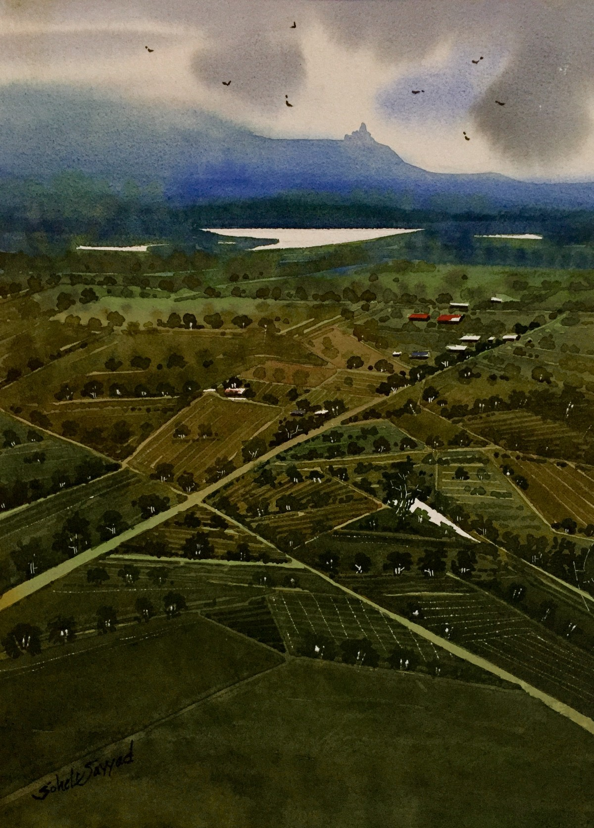 Top view of village by Sohel Sayyad , Impressionism Painting, Watercolor on Paper, Green color