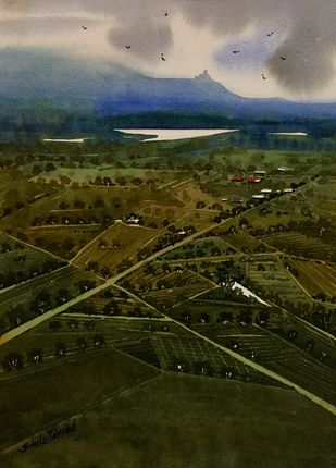 Top view of village by Sayyad Sohel, Impressionism Painting, Watercolor on Paper, Green color