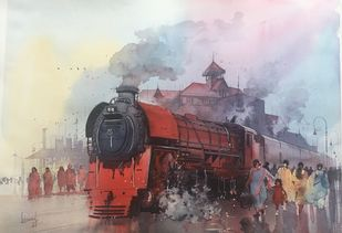 Classic steam - 1 by Bijay Biswaal, Impressionism Painting, Watercolor on Paper, Brown color