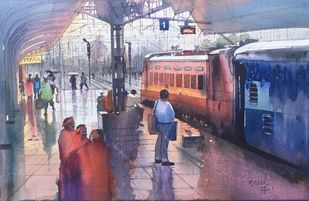 Wet Platform - Itarsi by Bijay Biswaal, Impressionism Painting, Watercolor on Paper, Brown color