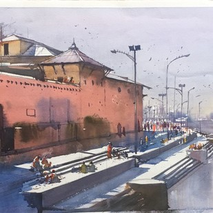 Pashupatinath - series by Bijay Biswaal, Impressionism Painting, Watercolor on Paper, Brown color