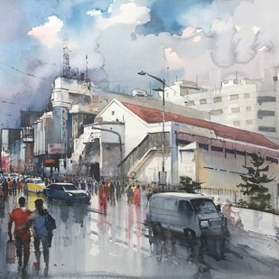 Brigade Road- Bangalore by Bijay Biswaal, Impressionism Painting, Watercolor on Paper, Gray color