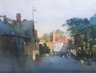 Sun and Shimla by Bijay Biswaal, Impressionism Painting, Watercolor on Paper, Green color