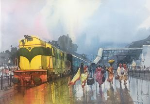 Classic Steam - 2 by Bijay Biswaal, Impressionism Painting, Watercolor on Paper, Gray color