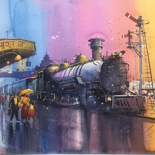 Classic Steam - 3 by Bijay Biswaal, Impressionism Painting, Watercolor on Paper, Brown color