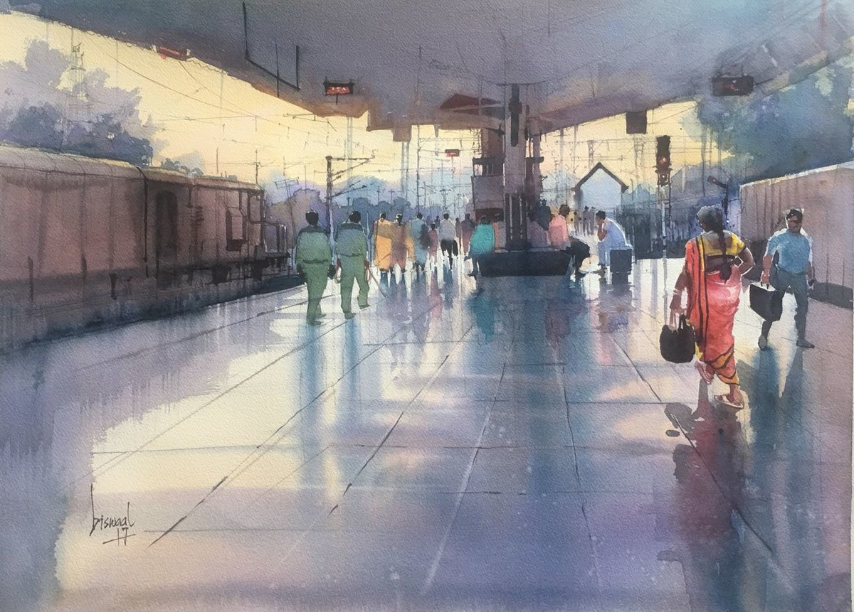 Untitled by Bijay Biswaal, Impressionism Painting, Watercolor on Paper, Brown color