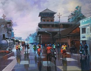 Wet Platform - Kathmandu by Bijay Biswaal, Impressionism Painting, Acrylic on Canvas, Gray color