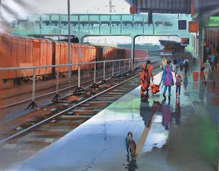 Wet Platform - Nagpur by Bijay Biswaal, Impressionism Painting, Acrylic on Canvas, Green color