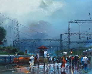 Wet Platform - Igatpuri by Bijay Biswaal, Impressionism Painting, Acrylic on Canvas, Blue color