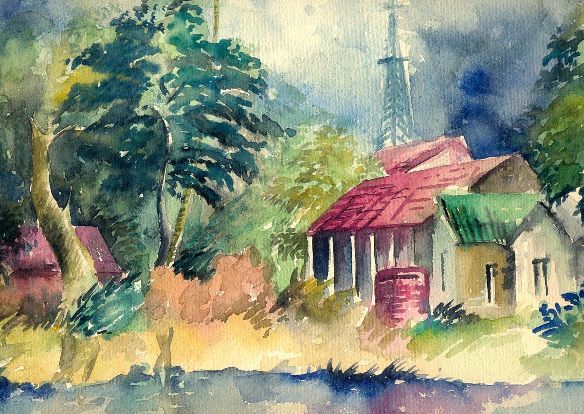 Landscape in Calcutta Digital Print by Shalini Sinha,Impressionism