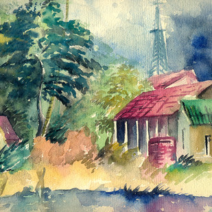 Landscape in Calcutta by Shalini Sinha, Impressionism Painting, Watercolor on Paper, Beige color