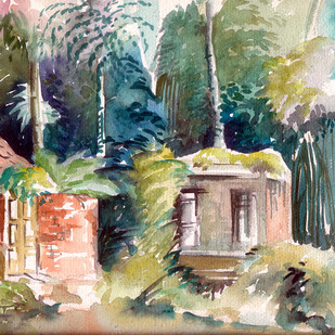 Landscape with tall trees by Shalini Sinha, Impressionism Painting, Watercolor on Paper, Beige color