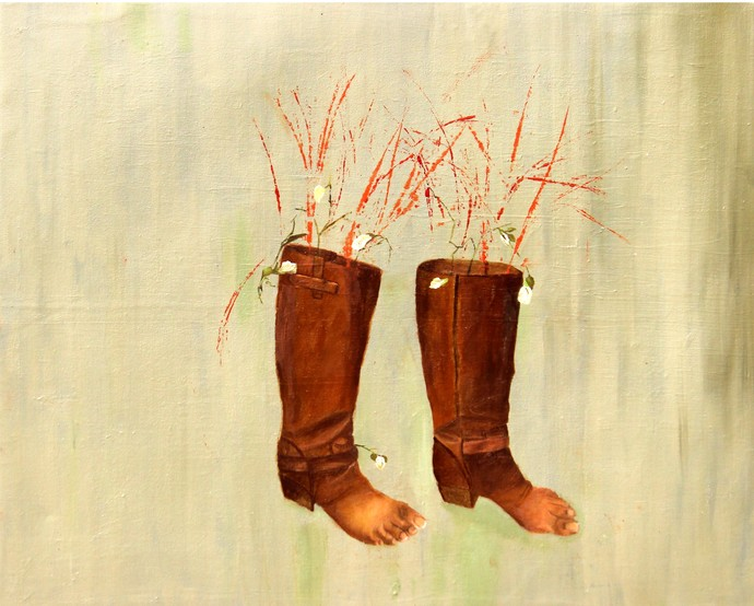 barefoot in shoes by Geetha Ramasesh, Expressionism Painting, Oil on Canvas, Beige color