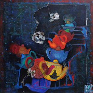 The City of Hopes by Sangeeta Singh, Fantasy Painting, Mixed Media on Canvas, Blue color