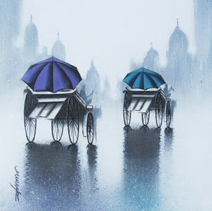 Rhythmic Monsoon Ride by Somnath Bothe, Impressionism Painting, Charcoal on Canvas, Cyan color